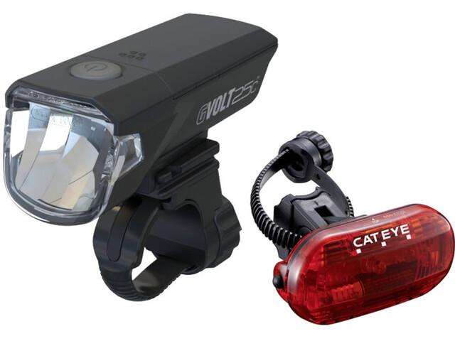 CatEye GVolt 25C EL370G/LD135G Lygtesæt inkl. Omni 3G, sort/rød